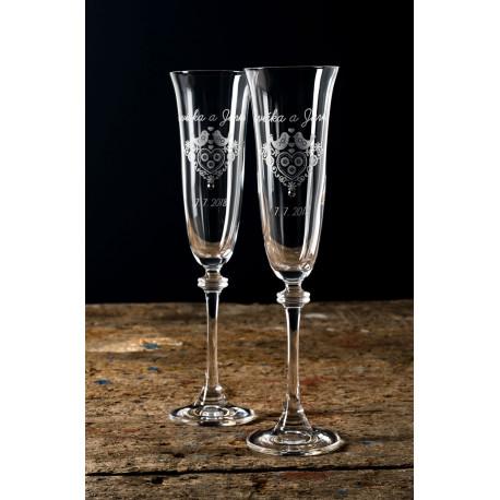 Folklór - gravírované sklenice na šampaňské 2 kusy