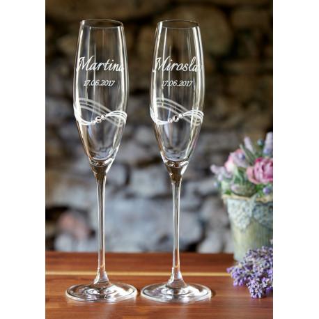 Romance - svadobné sklenice s gravírováním
