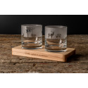 Příroda - gravírované sklenice na dřevěném podstavci - Great Vibes