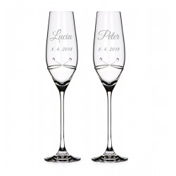 Kiss - svadobné poháre s gravírovaním - šampanské
