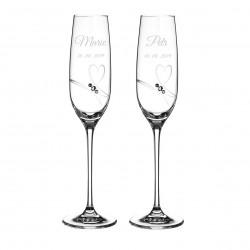 Romance - svatební skleničky s gravírováním - šampaňské
