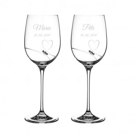 Romance svatební sklenice na víno