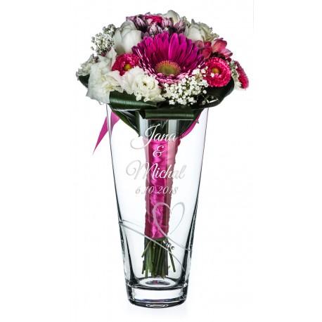 Romance - 25cm - svatební váza s gravírováním