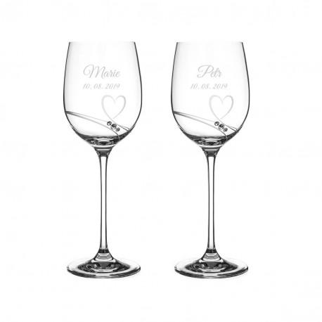Romance - malé víno - svatební skleničky s gravírováním