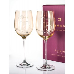 Gold Romance - svatební skleničky na víno s gravírováním