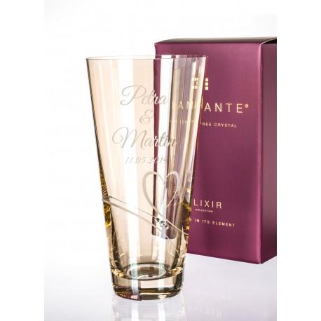 Gold Romance - 25cm váza s gravírováním