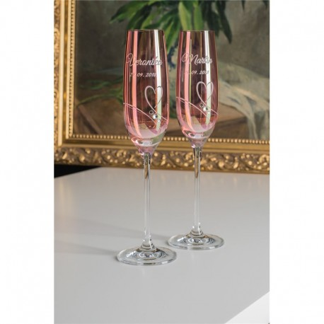 Pink Romance - svatební sklenice na šampaňské