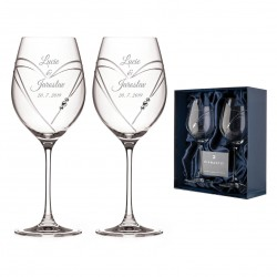 Hearts sklenice velké víno včetně gravírovaní Great Vibes